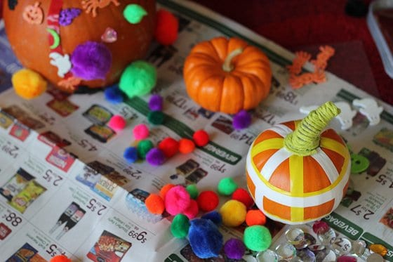 electrical tape which comes in several colors is also a great option for decorating pumpkins since it has a little bit of stretch to it