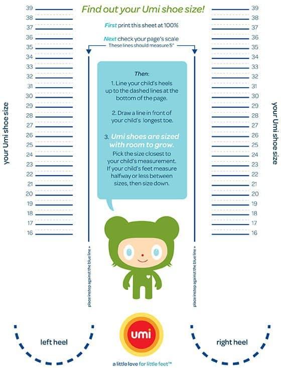 Umi Toddler Shoe Size Chart