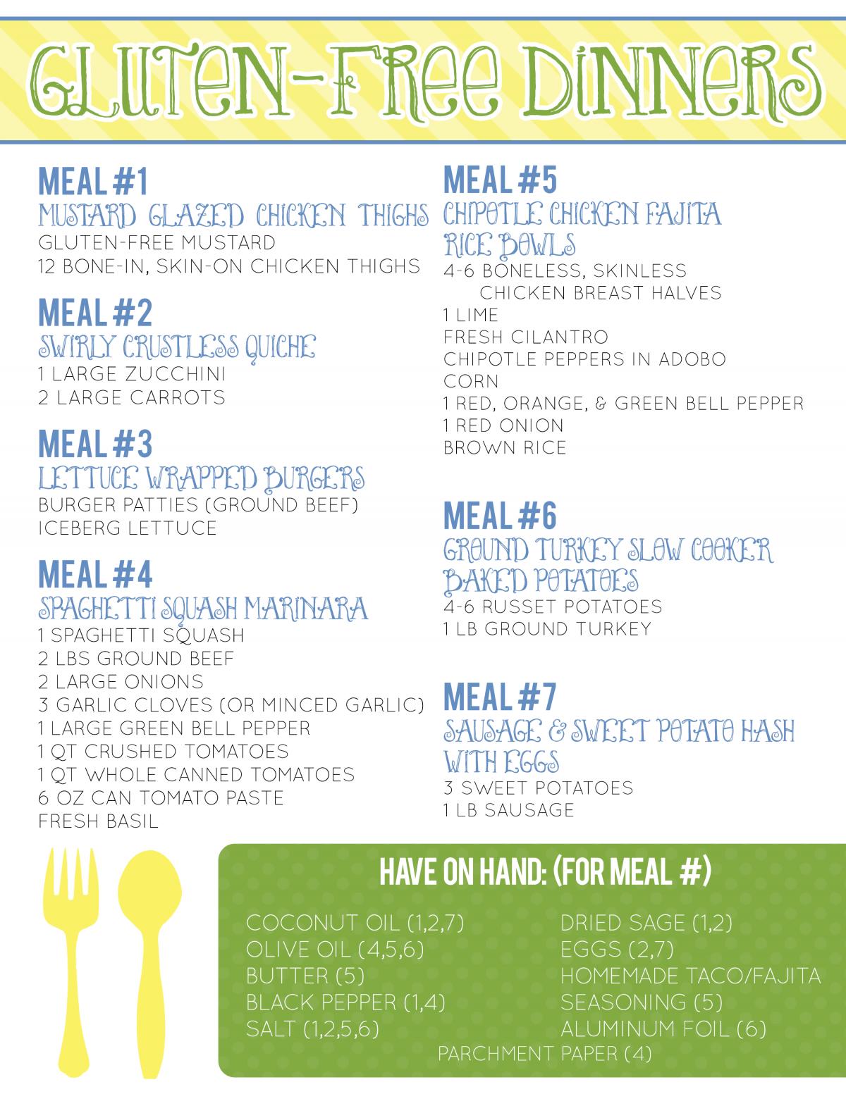 7 Gluten-Free Dinners Printable