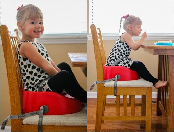 the bumbo booster is perfect for your growing toddler because it fastens onto any regular chair securely using a strap that goes both underneath the chair