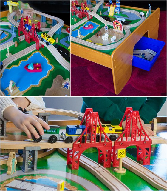 The Ride Around Town Train Set And Table Contains Over 100 Colorful Pieces  Of Track, Trains, Cars, Buildings, Planes, Boats, Animals, And People That  All ...