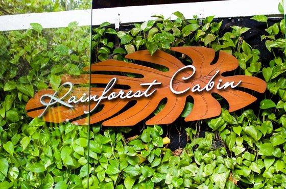 Rainforest Cabin sign
