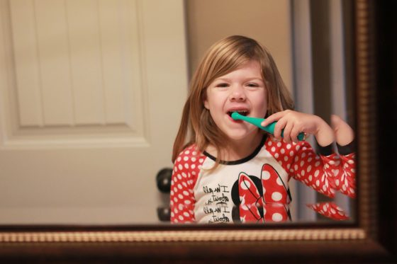 My little princess brushing with the ISSA mikro sonic toothbrush