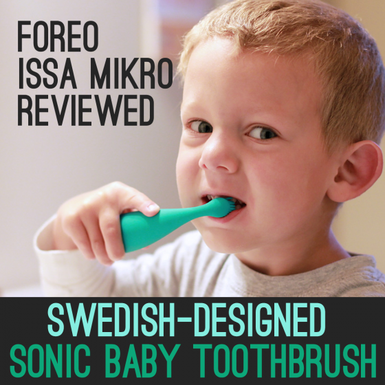 ISSA mikro baby electric toothbrush in use by my toddler