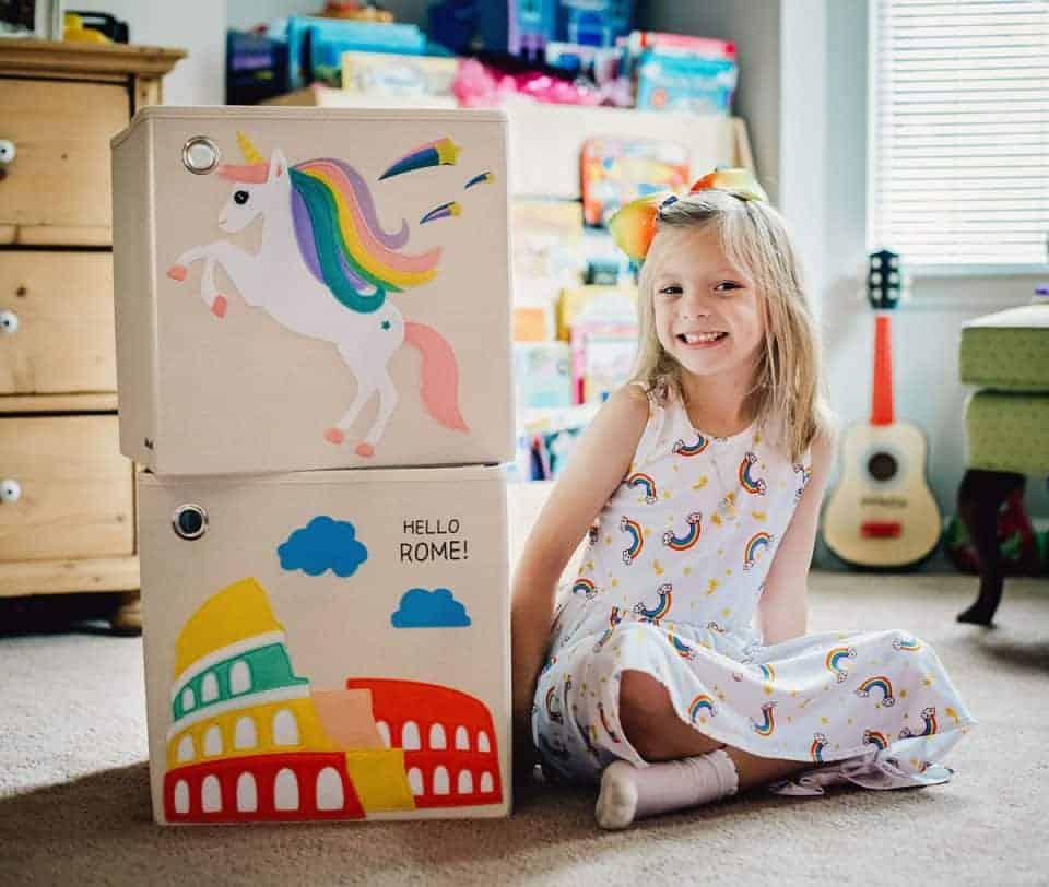 kaikai and ash storage boxes with child