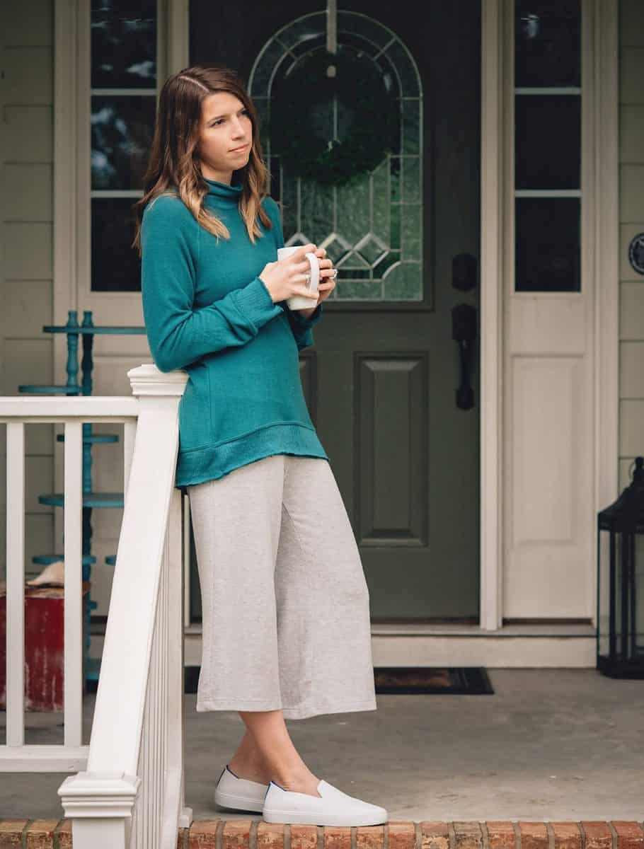 Daily Mom parents portal zsupply teal sweater and culottes 2