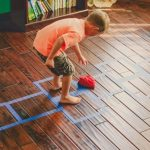 Rainy Day Activity: Playroom Floor Hopscotch