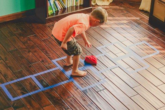 Rainy Day Activity: Playroom Floor Hopscotch
