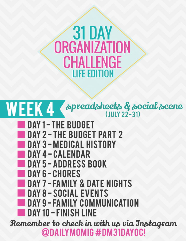 31 Day Organization Challenge- Life Edition- Week 4 1 Daily Mom Parents Portal