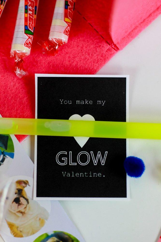 easy DIY valentines - glow stick